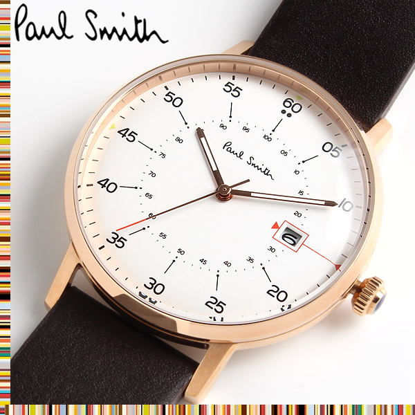 【送料無料】 ポールスミス PAUL SMITH ゲージ GAUGE クオーツ メンズ 腕時計 レザー ウォッチ クオーツ 3気圧防水 日付カレンダー ステンレス レザーベルト クラシック ファッション ホワイト P10077