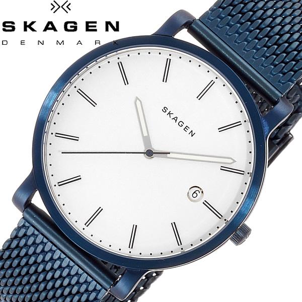 SKAGEN スカーゲン HAGEN ハーゲン 腕時計 メンズ クオーツ 5気圧防水 日付カレンダー ステンレス メッシュベルト ブルー IP加工 デンマーク 港 SKW6326