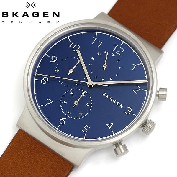【送料無料】 SKAGEN スカーゲン 腕時計 ウォッチ メンズ 男性用 革ベルト クオーツ クロノグラフ 日常生活防水 ANCHER アンカー SKW6358
