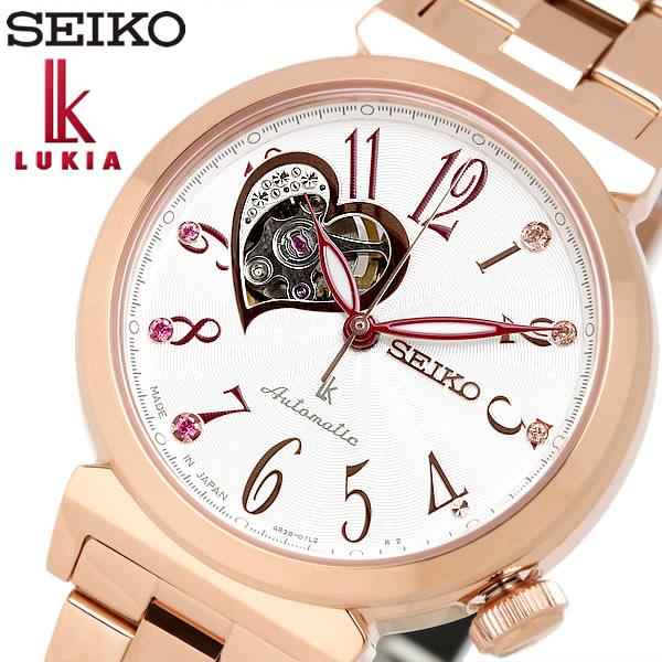 SEIKO LUKIA セイコー ルキア seiko 自動巻き 腕時計 レディース 10気圧防水 スケルトン ハート ステンレス サファイアガラス ローズゴールド SSA834J1
