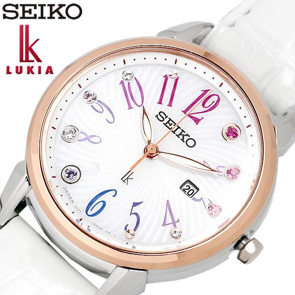 SEIKO LUKIA セイコー ルキア クリスマス限定モデル ソーラー クオーツ 腕時計 レディース 10気圧防水 日付カレンダー ステンレス レザーベルト サファイアガラス ホワイト SUT304J1