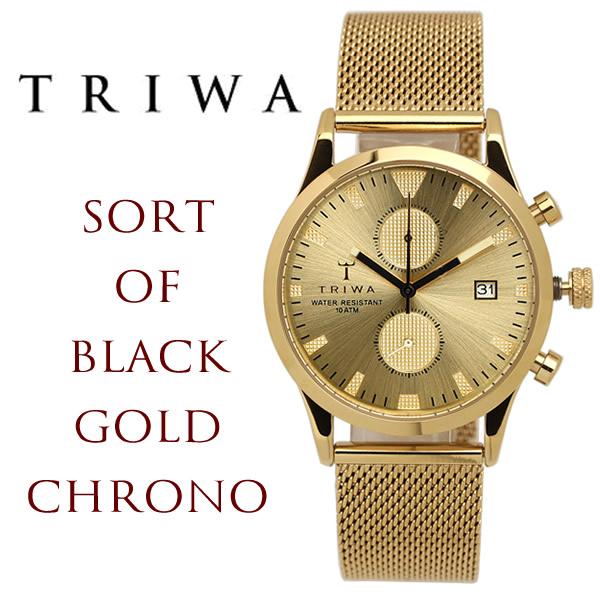 TRIWA/トリワ SORT OF BLACK 腕時計 クロノグラフ ユニセックス ステンレス 付け替え 黒レザー セット クオーツ 10気圧防水 ミネラルクリスタルガラス TW-LCST109-ME021313