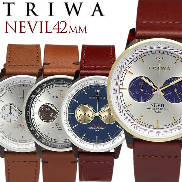 TRIWA/トリワ NEVIL 腕時計 クロノグラフ メンズ レディース ユニセックス ステンレス オーガニックレザー 日常生活強化防水 ストップウォッチ NEAC