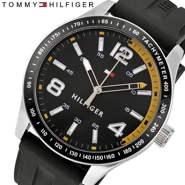 【送料無料】 TOMMY HILFIGER トミーヒルフィガー クオーツ メンズ 腕時計 タキメーター ラバーベルト ブランド カジュアル 1791174