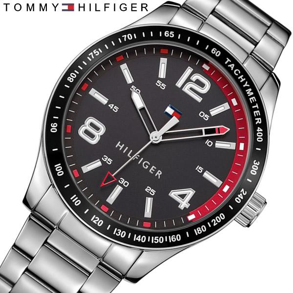 【送料無料】 TOMMY HILFIGER トミーヒルフィガー クオーツ メンズ 腕時計 タキメーター メタルベルト ブランド カジュアル 1791176