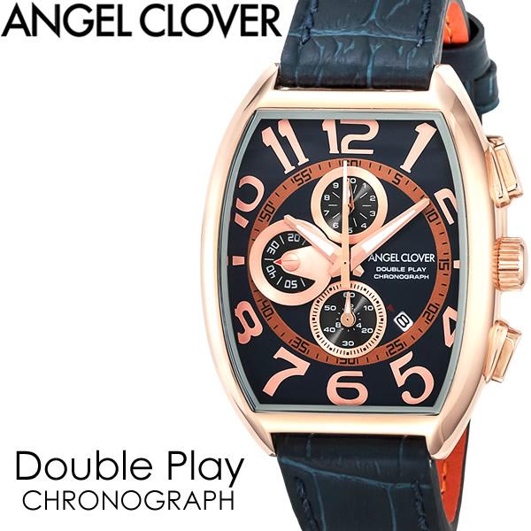 【送料無料】ANGEL CLOVER エンジェルクローバー Double Play ダブルプレイ 腕時計 ウォッチ メンズ 男性用 クオーツ 5気圧防水 クロノグラフ スクエアケース dp38pnv-nvn