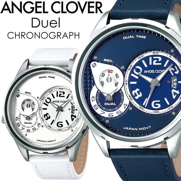 【送料無料】ANGEL CLOVER エンジェルクローバー Duel デュエル 腕時計 メンズ クオーツ 10気圧防水 デュアルタイム snv-nv swh-wh