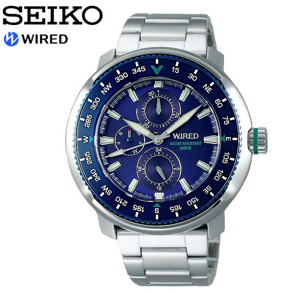 【SEIKO WIRED】 セイコー ワイアード SOLIDITY ソリディティ クオーツ腕時計 メンズ 20気圧防水 多針 ルミブライト 回転ベゼル ハードレックス AGAT416