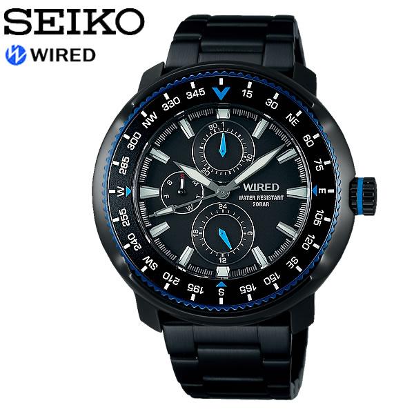 【SEIKO WIRED】 セイコー ワイアード SOLIDITY ソリディティ クオーツ腕時計 メンズ 20気圧防水 多針 ルミブライト 回転ベゼル ハードレックス AGAT417