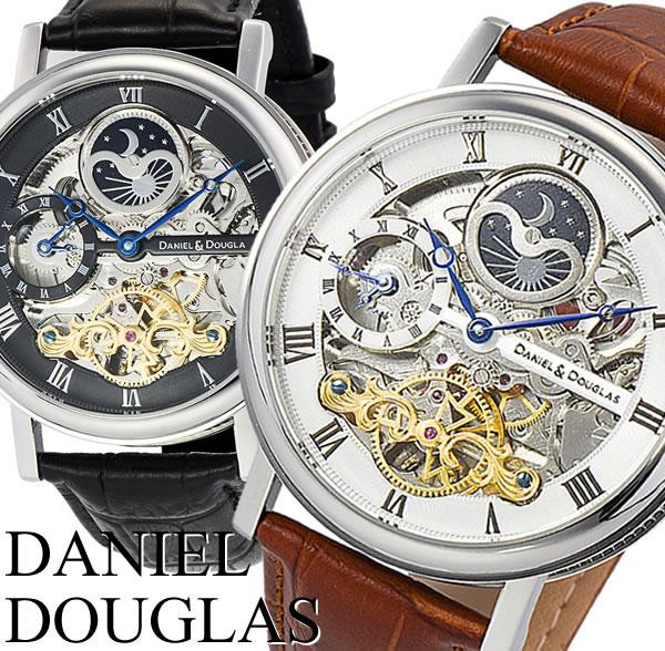【送料無料】 【DANIEL DOUGLAS】 ダニエル・ダグラス オリジン サン&ムーン 自動巻き 革ベルト メンズ 腕時計 DD8806