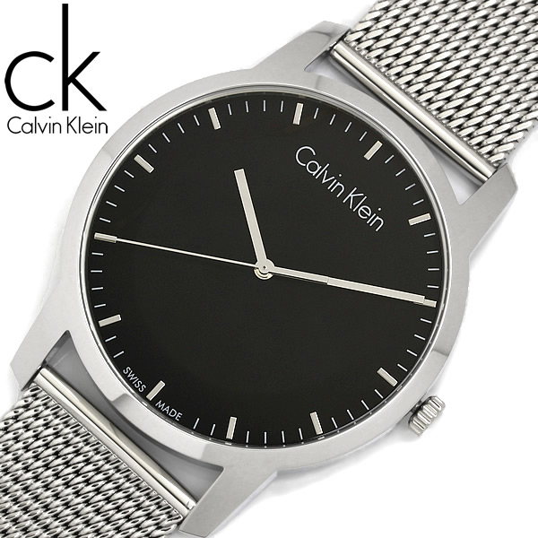 【送料無料】【Calvin Klein】【カルバンクライン】 CKシティ 腕時計 メンズ 43mm クオーツ メッシュベルト シルバー ブラック k2g2g121