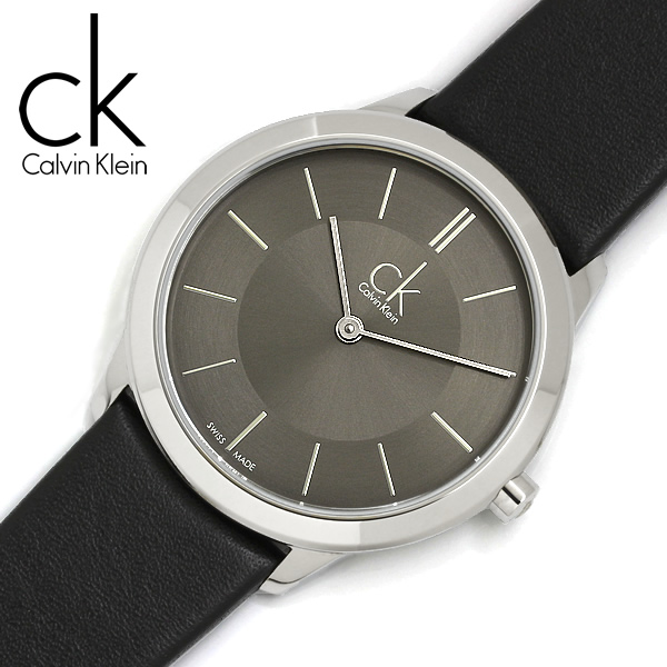 【送料無料】【Calvin Klein】【カルバンクライン】 ミニマル 腕時計 ユニセックス 35mm グレー クオーツ レザーベルト k3m221c4