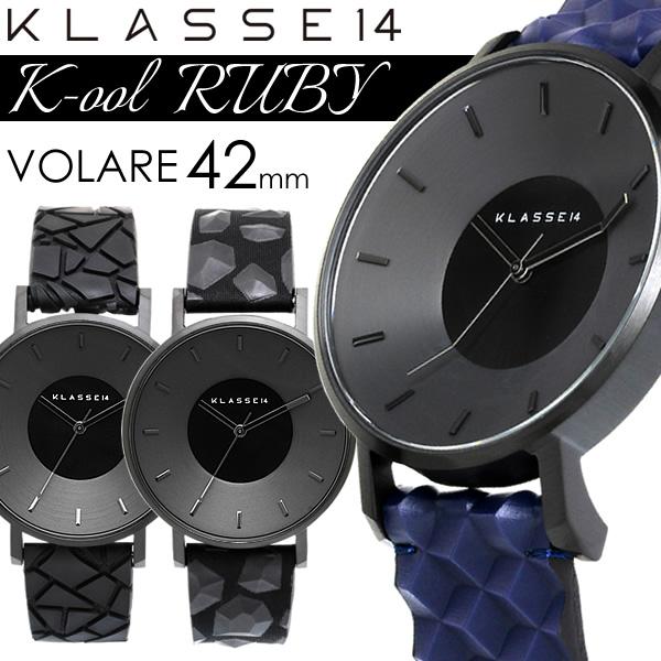 【スーパーSALE】【30%OFF】KLASSE14 クラス14 K-ool RUBY 42mm クオーツ腕時計 5気圧防水 幾何学形状ベルト ブラックケース レザー×シリコン アナログ3針 クール KO17BK ギフト