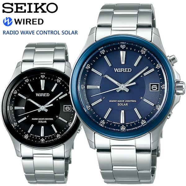 【SEIKO WIRED】 セイコー ワイアード ニュースタンダードモデル ソーラー電波腕時計 メンズ 10気圧防水 日付表示 ルミブライト IPメッキ SEIKO-WD04