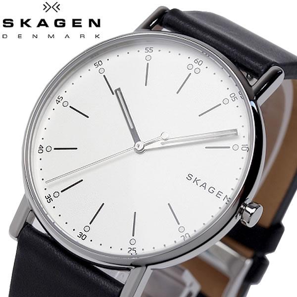 SKAGEN スカーゲン SIGNATUR シグネチャー 腕時計 クオーツ 5気圧防水 メンズ 40mm レザーバンド スタイリッシュ シンプル デンマーク SKW6353