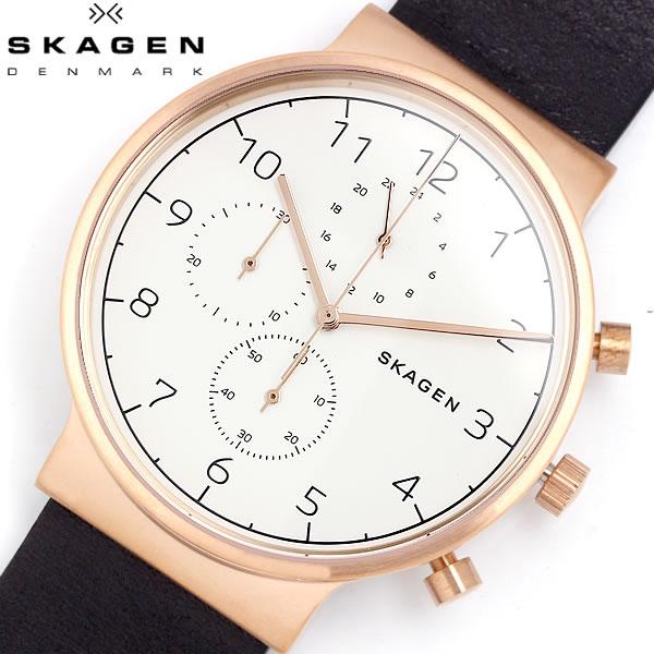 SKAGEN スカーゲン 腕時計 メンズ クロノグラフ クオーツ ANCHER アンカー 5気圧防水 カレンダー ステンレス レザー ミネラルガラス シンプル SKW6371