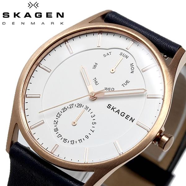 SKAGEN スカーゲン HOLST ホルスト 腕時計 クオーツ 5気圧防水 メンズ 40mm カレンダー レザーバンド スタイリッシュ シンプル デンマーク SKW6372