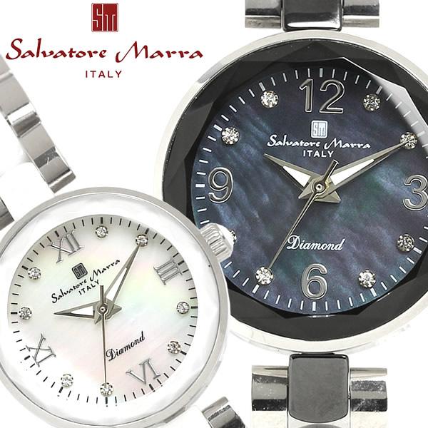 【感謝SALE】【送料無料】Salvatore Marra 腕時計 ウォッチ 日常生活防水 レディース セラミック コンビベルト sm17153