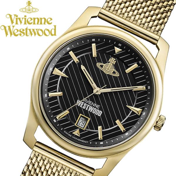 【送料無料】 【Vivienne Westwood】 ヴィヴィアンウエストウッド 腕時計 ゴールド メッシュ ステンレス ブランド メンズ ウォッチ VV185BKGD