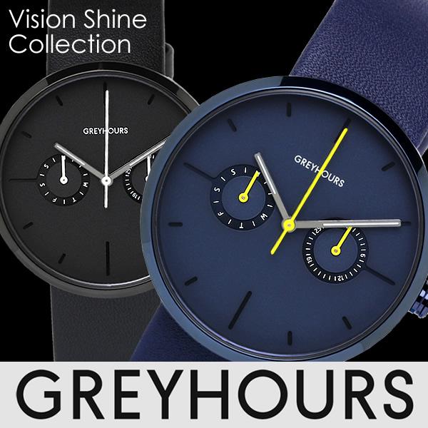 【感謝SALE】GREYHOURS グレイアワーズ グレーアワーズ 腕時計 ヴィジョンシャイン ユニセックス クオーツ 5気圧防水 曜日・日付表示 フランス製カーフレザー 316Lステンレス GH-02