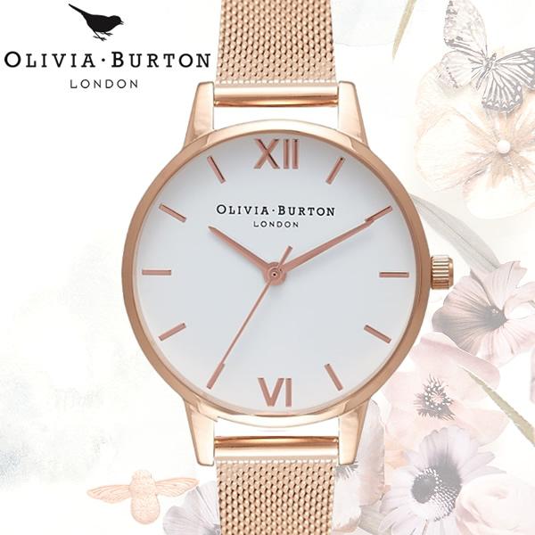 【送料無料】 OLIVIA BURTON オリビアバートン WHITE DIAL ホワイトダイヤル メッシュ レディース 腕時計 クオーツ OB16MDW01
