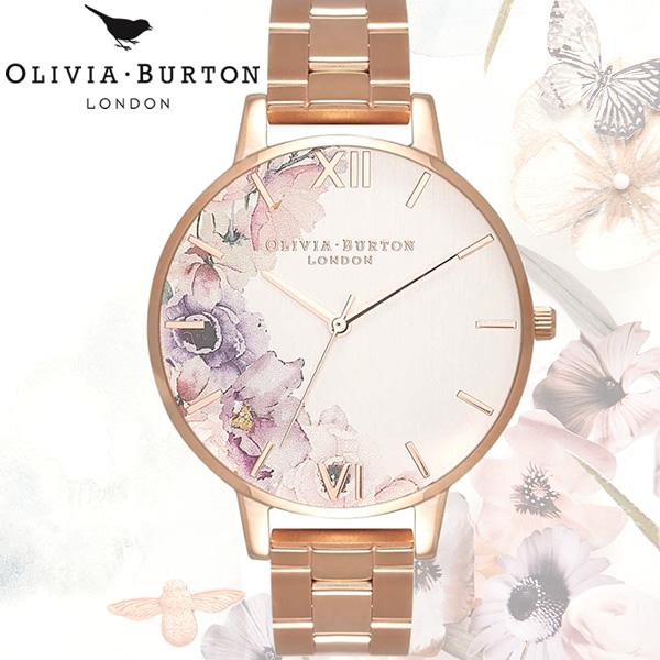【送料無料】 OLIVIA BURTON オリビアバートン WATERCOLOUR FLORALS ウォーターカラー フローラル レディース 腕時計 クオーツ OB16PP38