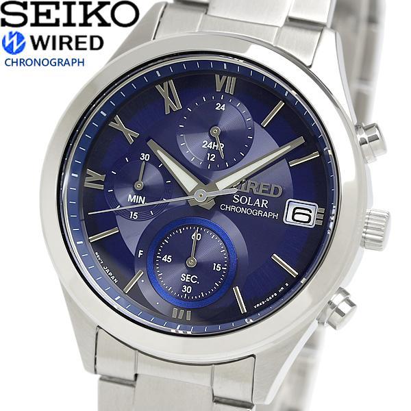 【送料無料】[SEIKO WIRED] 腕時計 ワイアード ソーラー クロノグラフ ネイビー文字盤 カーブハードレックス AGAD096 メンズ シルバー