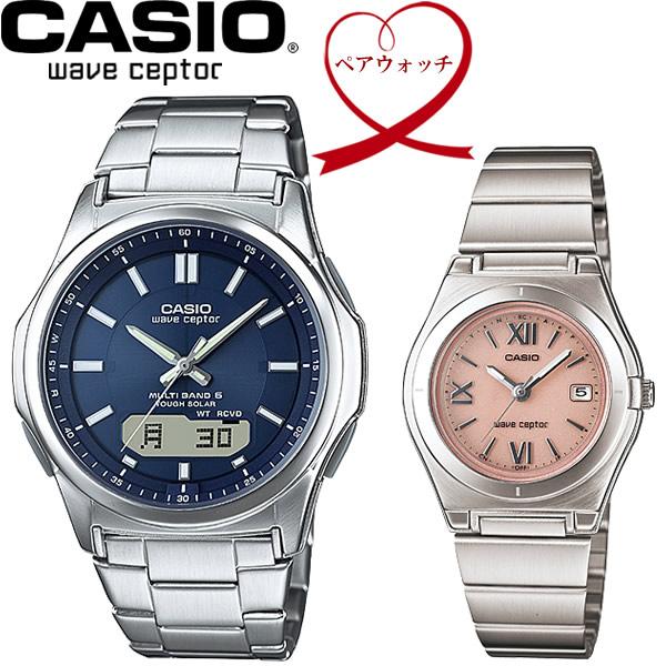 【送料無料】ペアウォッチ CASIO カシオ wave ceptor 電波ソーラー 腕時計 二本セット WVA-M630D-2AJF LWQ-10DJ-4A1JF