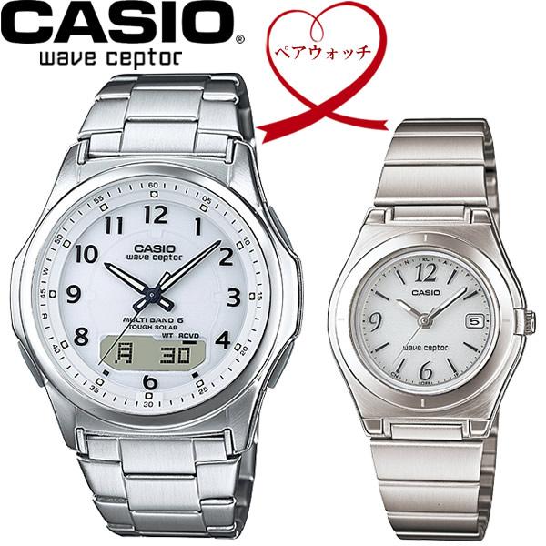 【送料無料】ペアウォッチ CASIO カシオ wave ceptor 電波ソーラー 腕時計 二本セット WVA-M630D-7AJF LWQ-10DJ-7A1JF
