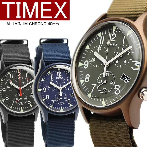 【国内正規品】TIMEX タイメックス 腕時計 キャンパー MK1 クロノグラフ アルミケース ウォッチ メンズ 男性用 インディグロナイトライト ナイロン tw2r67600 67700 67800