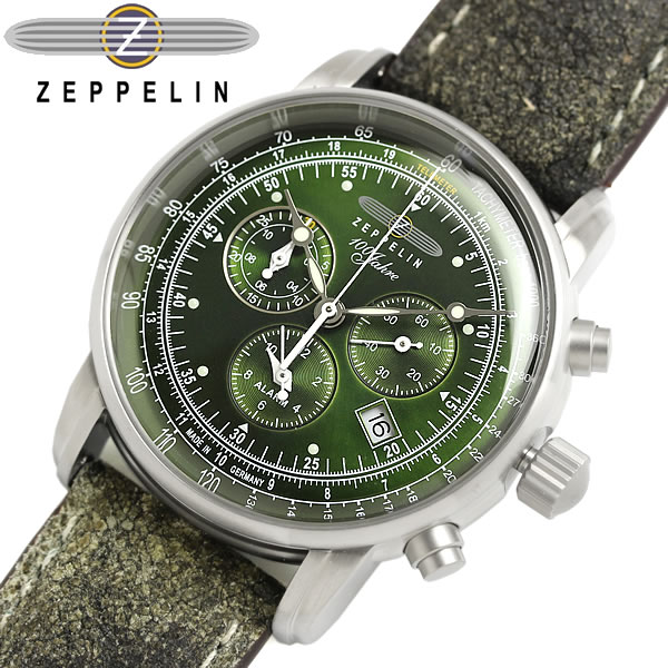 【送料無料】ツェッペリン Zeppelin 100周年 限定モデル クロノグラフ メンズ 腕時計 ウォッチ レザーバンド グリーン ヴィンテージ加工 8680-4