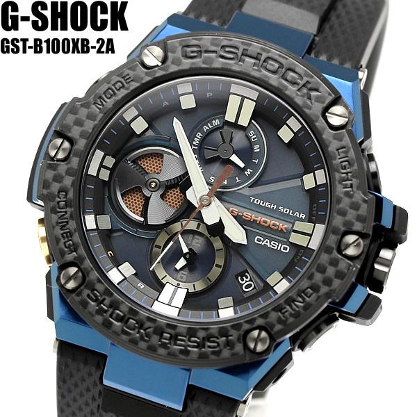 【スーパーSALE】G-SHOCK Gショック ジーショック G-STEEL Gスチール クロノグラフ カーボンベゼル Bluetooth モバイルリンク機能 カシオ CASIO アナログ 腕時計 ソーラー ブラック ブルー GST-B100XB-2A