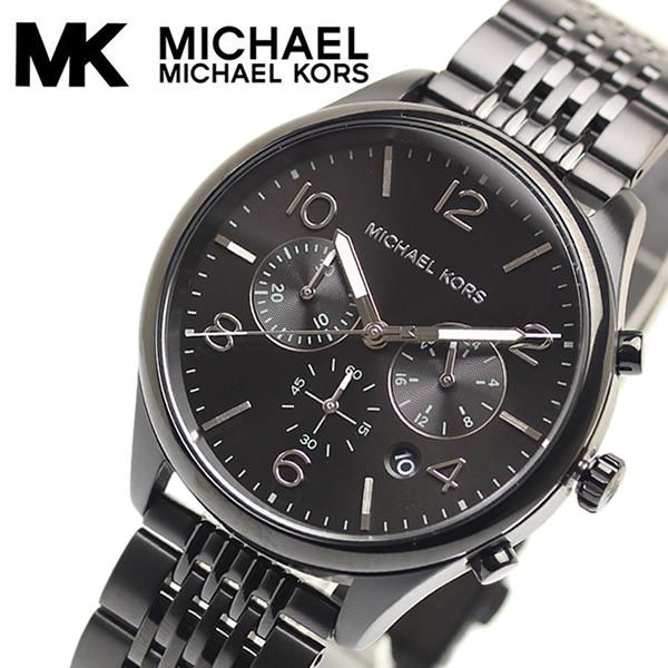 【送料無料】MICHAEL KORS マイケルコース メンズ 腕時計 メリック オールブラック 5気圧防水 クロノグラフ ブランド MK8640