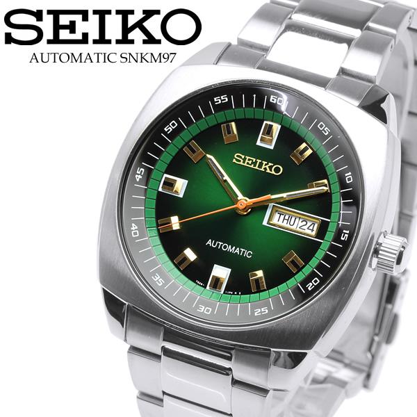 【SEIKO】セイコー 腕時計 自動巻き リクラフト グリーン 緑 Automatic Watch メンズ ウォッチ 腕時計 カレンダー SNKM97
