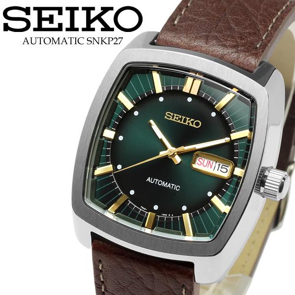 【SEIKO】セイコー 腕時計 自動巻き リクラフト 革ベルト レザー グリーン 緑 Automatic Watch メンズ ウォッチ カレンダー SNKP27