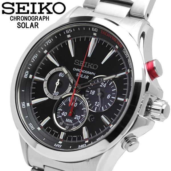 【送料無料】SEIKO セイコー SOLAR ソーラー メンズ 男性 腕時計 ウォッチ クロノグラフ カレンダー ブラック シルバー ssc493p1