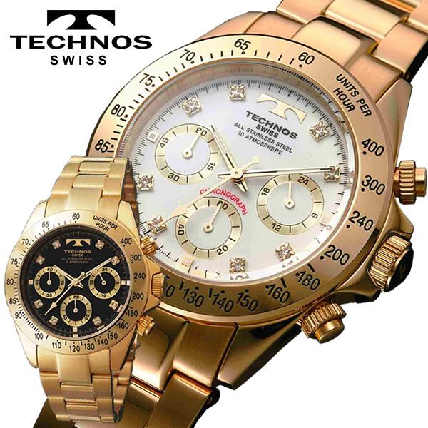 【送料無料】[メーカー正規品]TECHONOS テクノス腕時計 クロノグラフ腕時計 10気圧防水 メンズ腕時計 TGM639GW TMG640TB