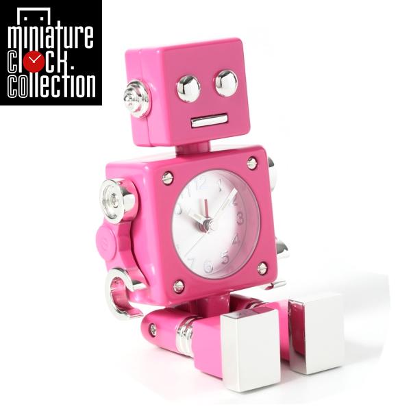 ミニチュア クロック 置時計 ロボット型 おしゃれ 小さい アナログ 卓上インテリア デザイン かわいい 雑貨 AC570-HPK 父の日 ギフト