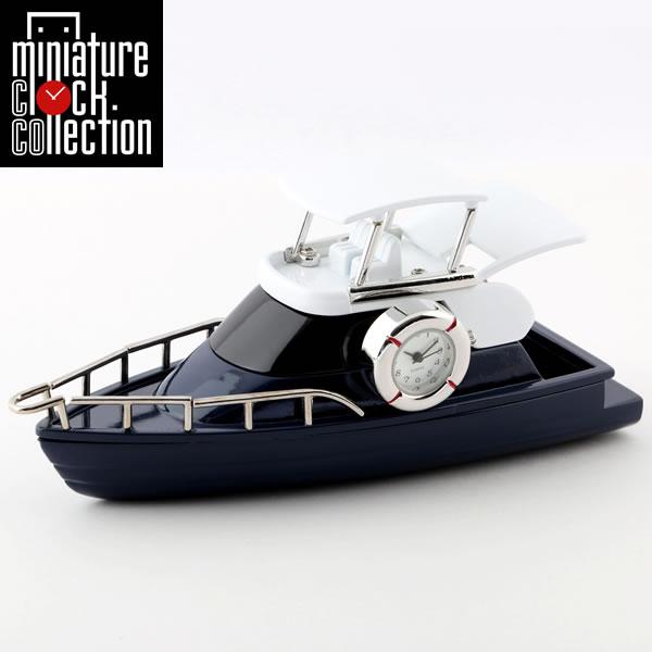 最大1000円OFFクーポン ミニチュア クロック 置時計 ボート型 日本製クォーツ おしゃれ 小さい アナログ 卓上 インテリア デザイン かわいい 雑貨 レア アイテム ギフト C3300-BL