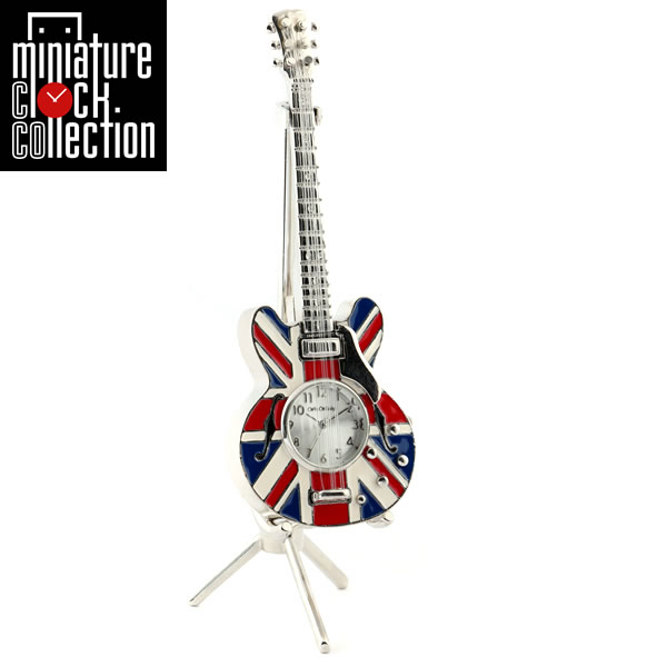 ミニチュア クロック 置時計 ギター型 日本製クォーツ おしゃれ 小さい アナログ 卓上 インテリア デザイン かわいい 雑貨 レア アイテム ギフト C3472B