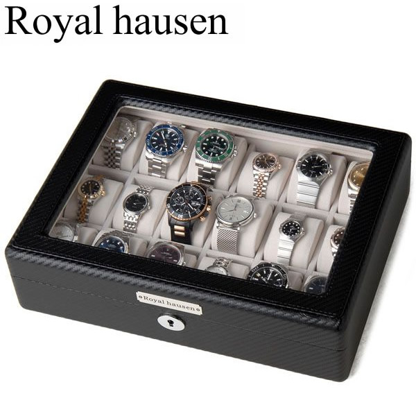 Royal hausen ロイヤルハウゼン 時計収納ケース ウォッチケース 腕時計 コレクション 18本収納 PU フェイクレザー 鍵付き GC02-TP-18