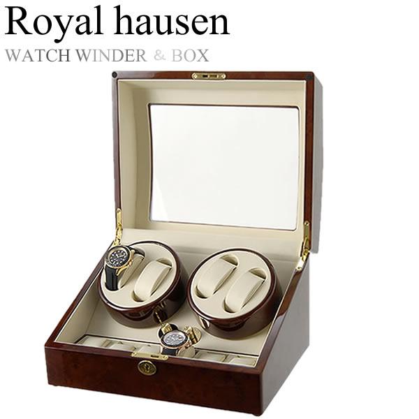 Royal hausen ロイヤルハウゼン 時計ワインダー 自動巻き ワインディングマシーン マブチモーター 収納 コレクション ケース MDF 4本巻き 5本収納 GC03-D31