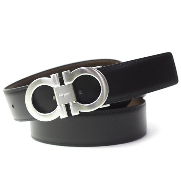 フェラガモ S.Ferragamo ベルト メンズ リバーシブル ガンチーニ サイズ調節可能 シルバーバックル ブラック/ブラウン 67 9535/38