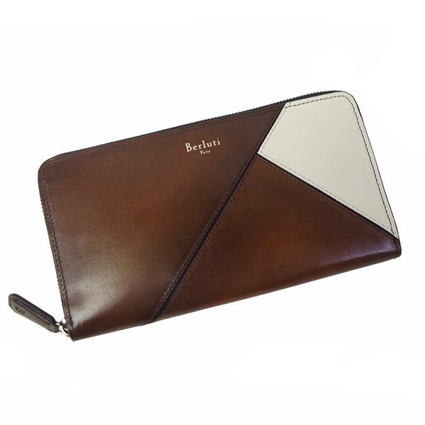 ベルルッティ 財布 メンズ Itauba Patchwork Calf 173384 ブラウン/アイボリー