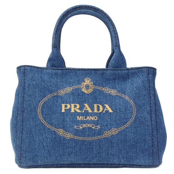 プラダ ハンドバッグ レディース トートバッグ デニム プラダ バッグ レディース PRADA 1BG439 DENIM BLUE GOLD デニムブルー ゴールドロゴ