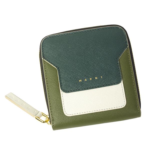 マルニ 財布 レディース MARNI PFMOQ09U12 LV520 Z273I グリーン+ホワイト+ライトグリーン