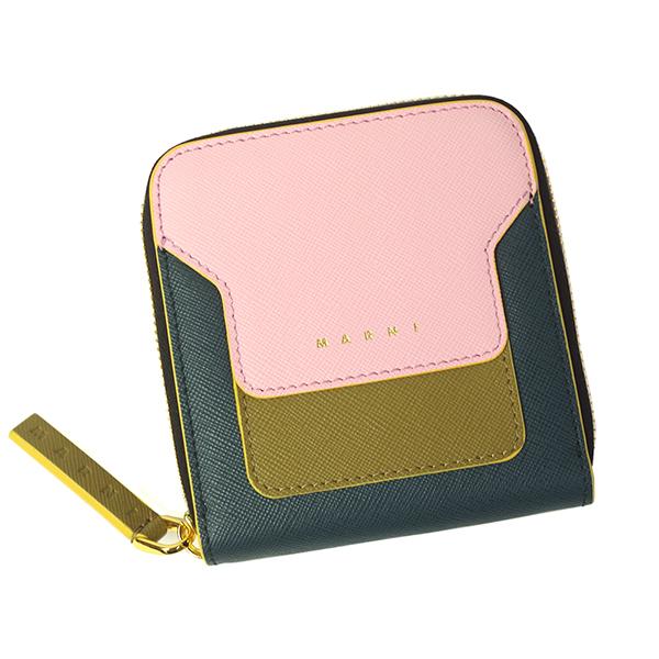 マルニ 財布 レディース MARNI PFMOQ09U12 LV520 Z272Y ピンク+カーキ+グリーン