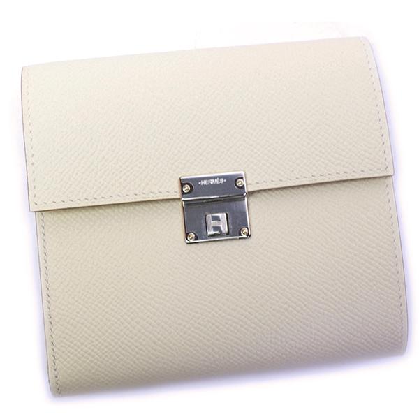 エルメス HERMES 財布 Clic クリック 12 073508CK オフホワイト レディース メンズ 三つ折り ヴォーエプソン クレ シルバー金具