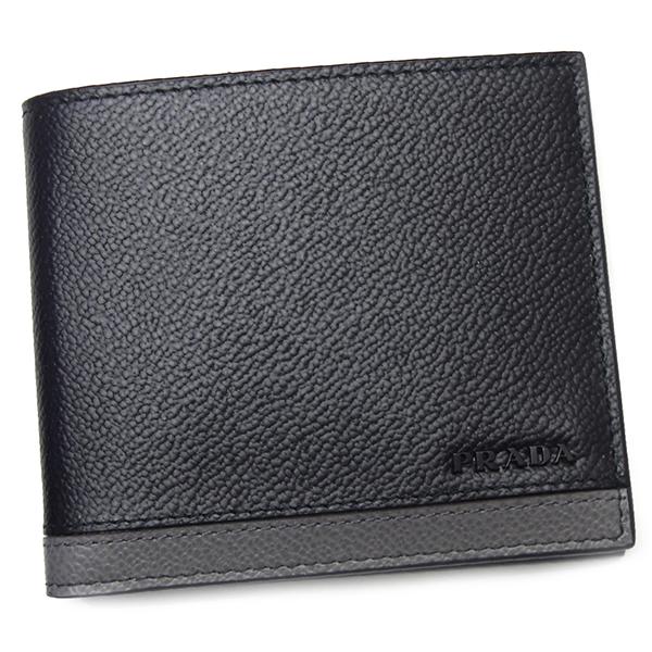 プラダ 財布 メンズ PRADA 2MO513 VITELLO MICRO GRAIN NERO+MERCURIO ブラック/グレー