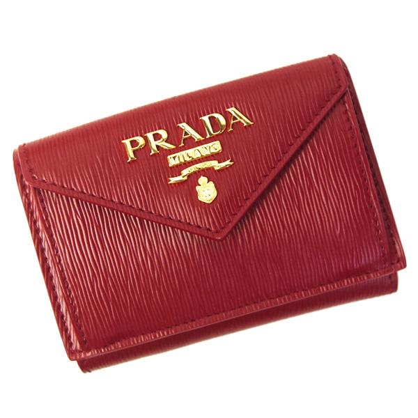 プラダ 財布 レディース PRADA コンパクトウォレット 1MH021 VITELLO MOVE RUBINO レッド